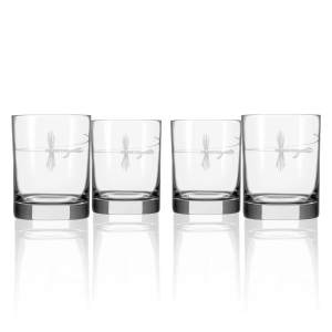 Hand Etched Fly Fishing Glassware 14oz Double Old Fashioned