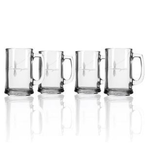 Hand Etched Fly Fishing Glassware 15oz Beer Mug