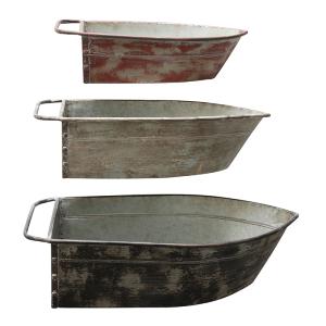 Metal Boat Shaped Tins - Set of 3