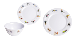 Fishing Flies Melamine Dinnerware - Set for 4