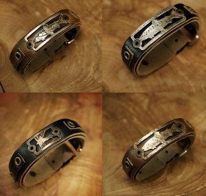 Leather Bracelet With Bronze Badge - Freshwater