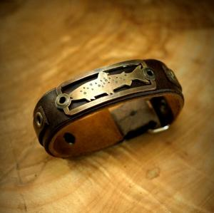 Leather Bracelet With Bronze Badge and Turquoise Inlay