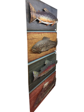 Large Metal Trout on Wood Background
