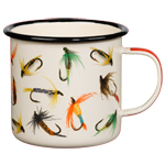 Enamel Mug With Flies  Cream