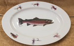 Rainbow Trout Center-Dry Flies Rim Oval Platter