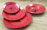 Crimson Red Fly Fisherman Silhouette Dinnerware Set 4 Piece Set