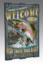 Rainbow Trout Wooden Cabin Sign