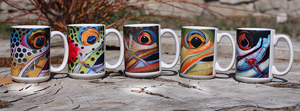 Set of 4 Fish Face Coffee Mugs
